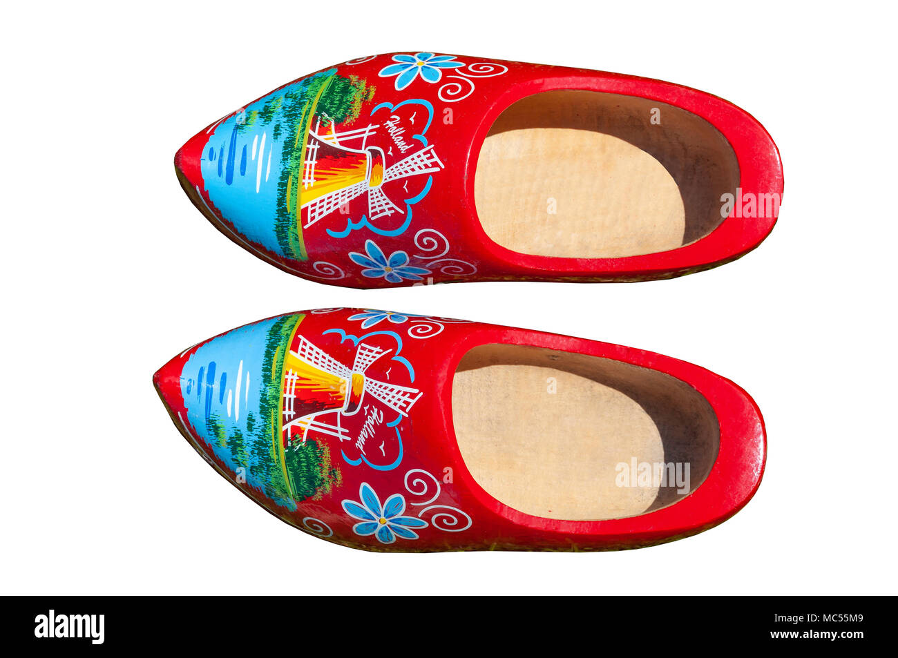 Traditional wooden clogs (Klomp), Kinderdijk, Nieuw-Lekkerland Municipality, Zuid Holland, Netherlands - Stock Image