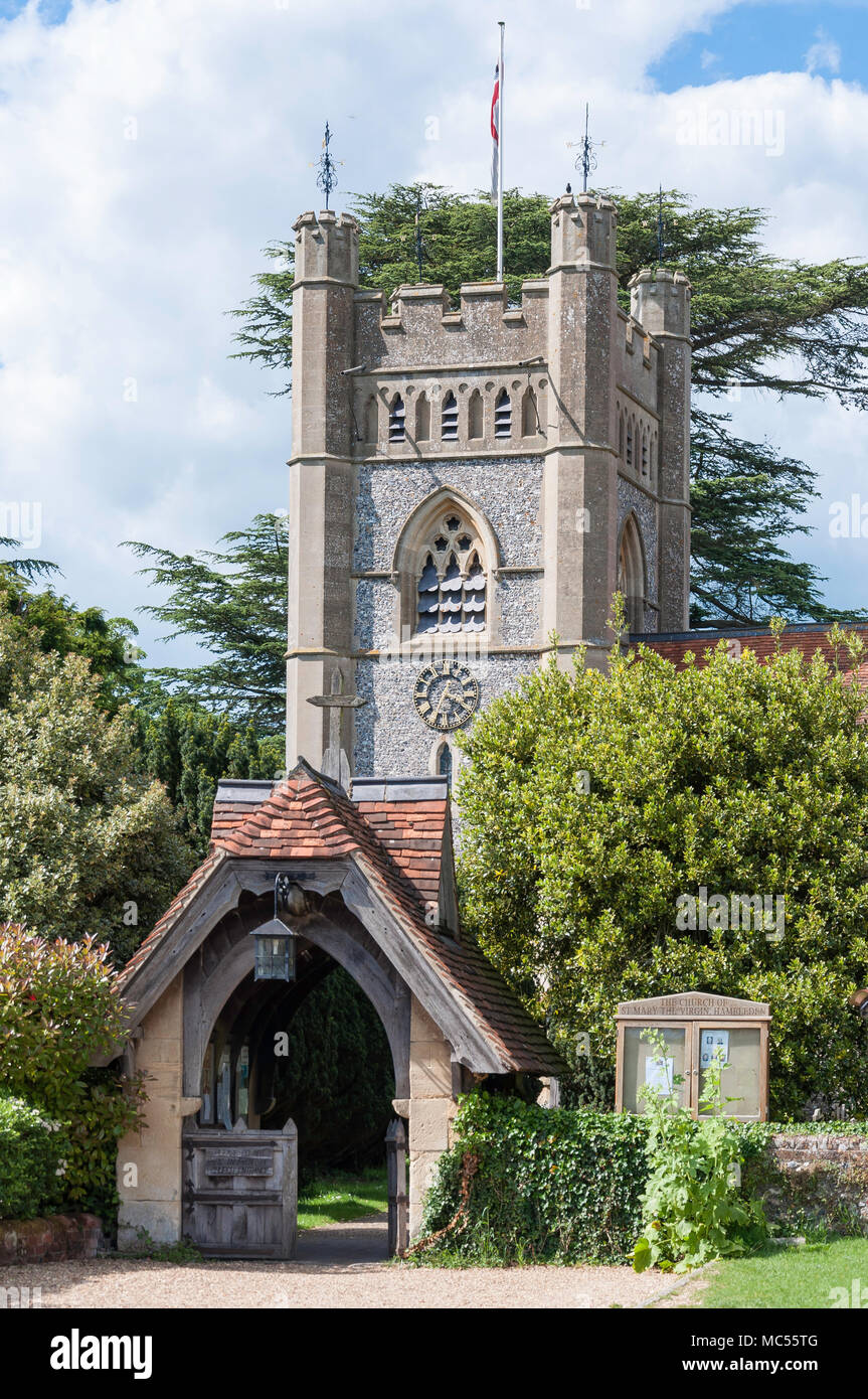 St Mary The Virgin Church, Hambleden, Buckinghamshire, England, United Kingdom - Stock Image
