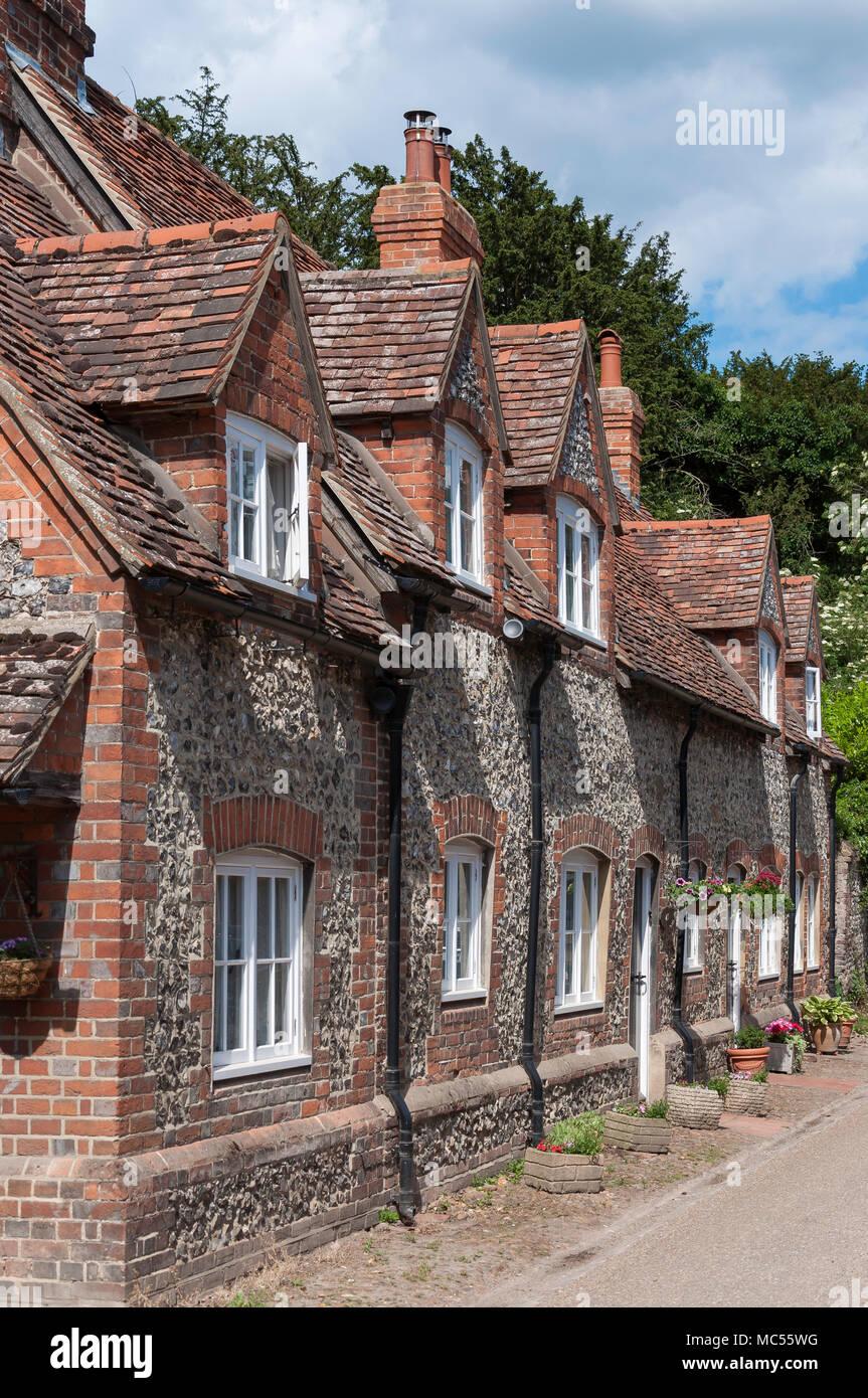 Flint cottages, Hambleden, Buckinghamshire, England, United Kingdom - Stock Image