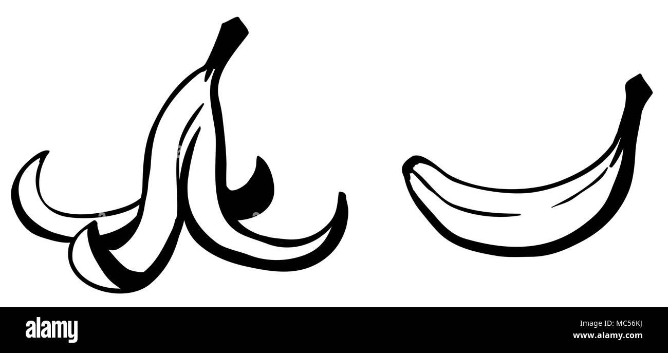 Banana peel fruit food waste cartoon line drawing, horizontal, black and white vector illustration, isolated - Stock Image