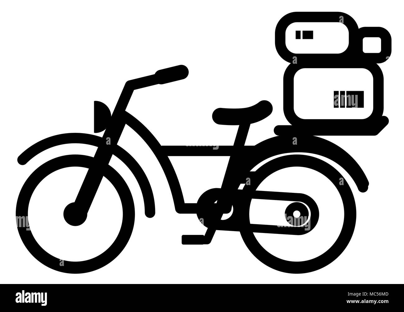 Bicycle delivery stencil black, vector illustration, horizontal, isolated - Stock Image