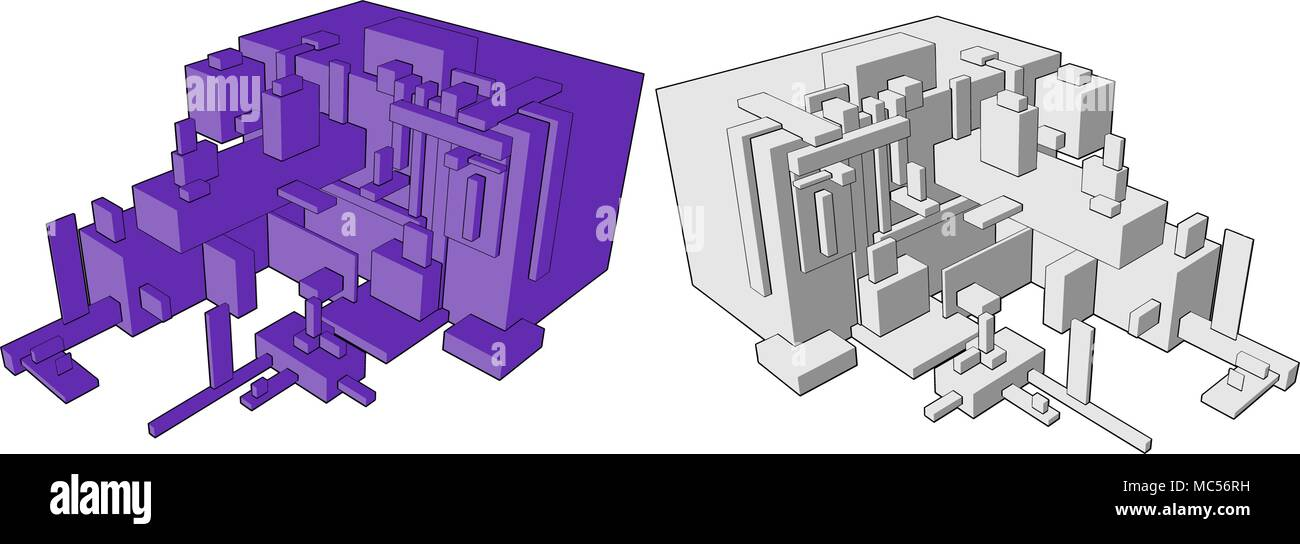 Abstract vector box build 3d structure design element - Stock Image