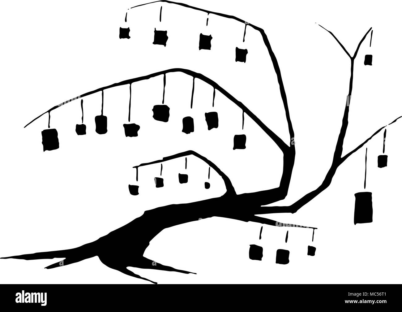 Box Tree ink design symbolic stylized, over white, isolated - Stock Vector