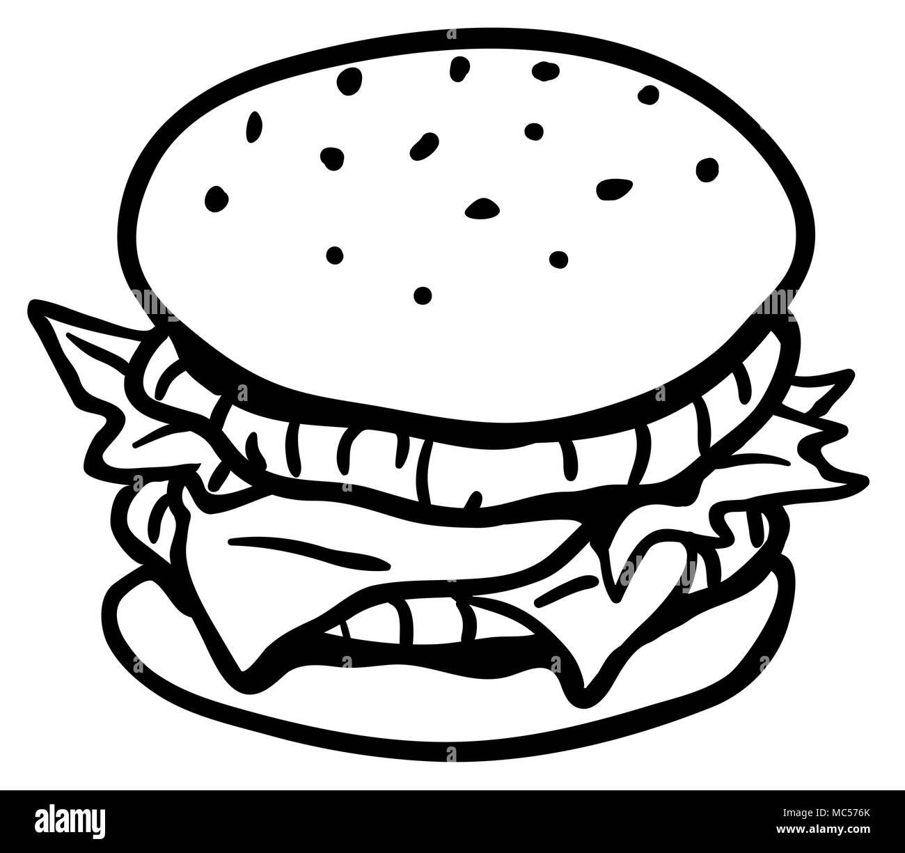 hamburger sandwich line drawing horizontal