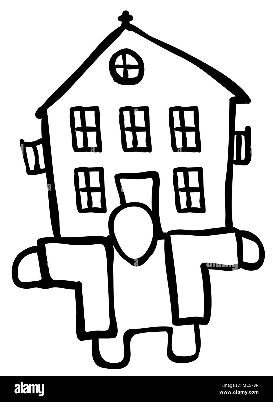 House holder figure drawing black, vector illustration, horizontal, isolated - Stock Image