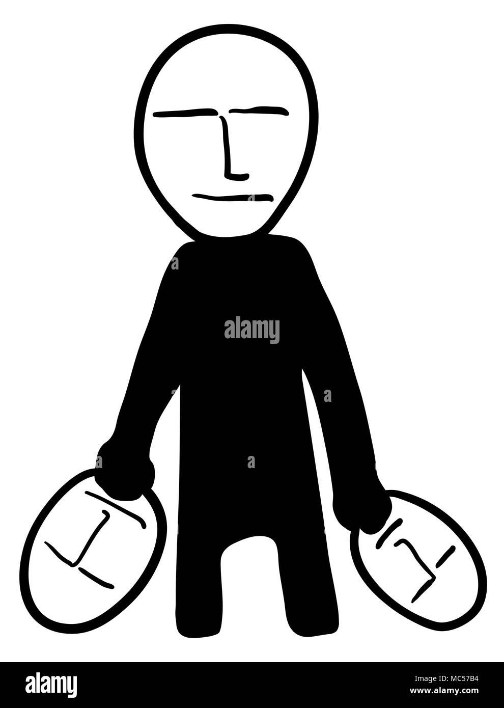 Masks identity figure black, vector illustration, vertical, over white, isolated - Stock Image