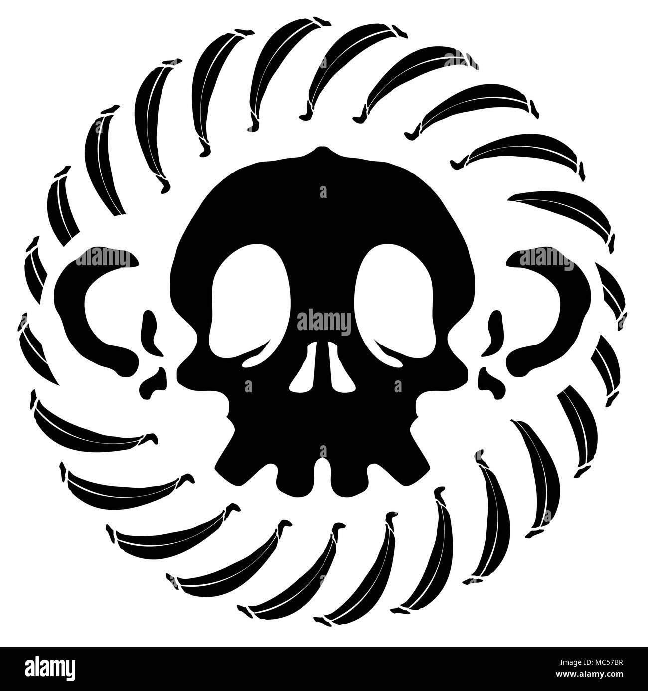 Monkey skull stylized stencil black, vector illustration, isolated - Stock Image