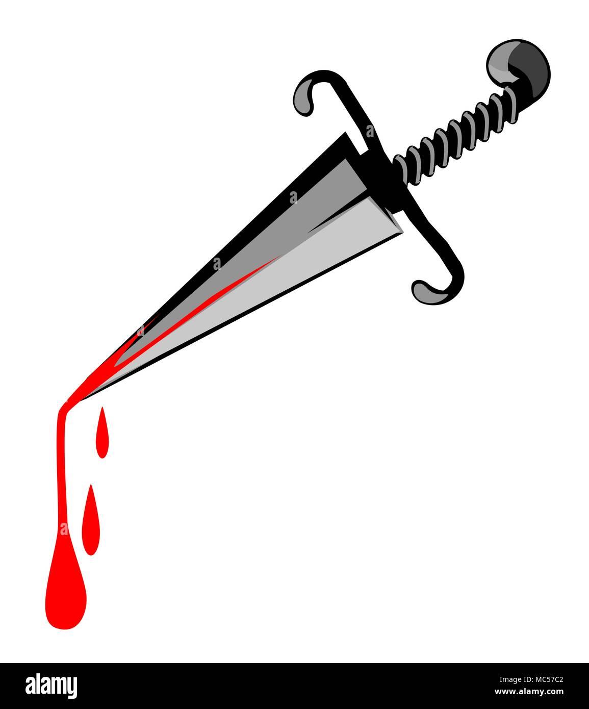 Murder weapon dagger cartoon, horizontal, vector illustration, isolated - Stock Vector