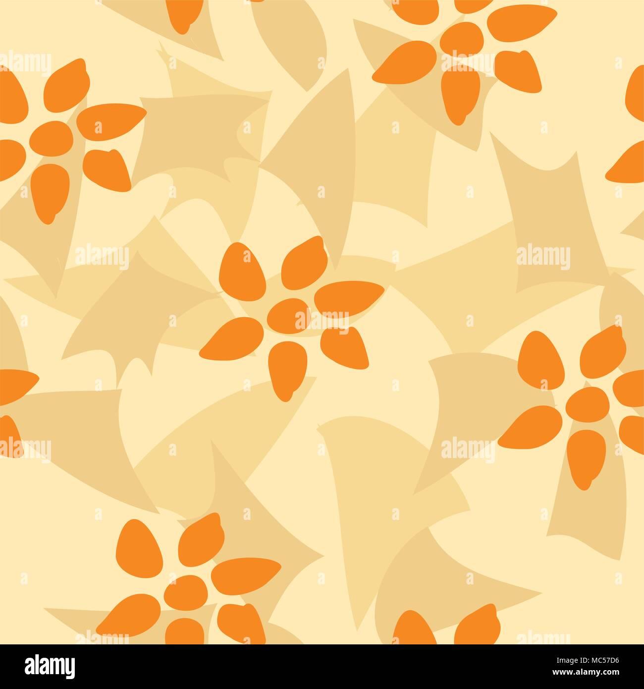 Seamless Tile Vector Texture Pattern Orange Flower Wallpaper