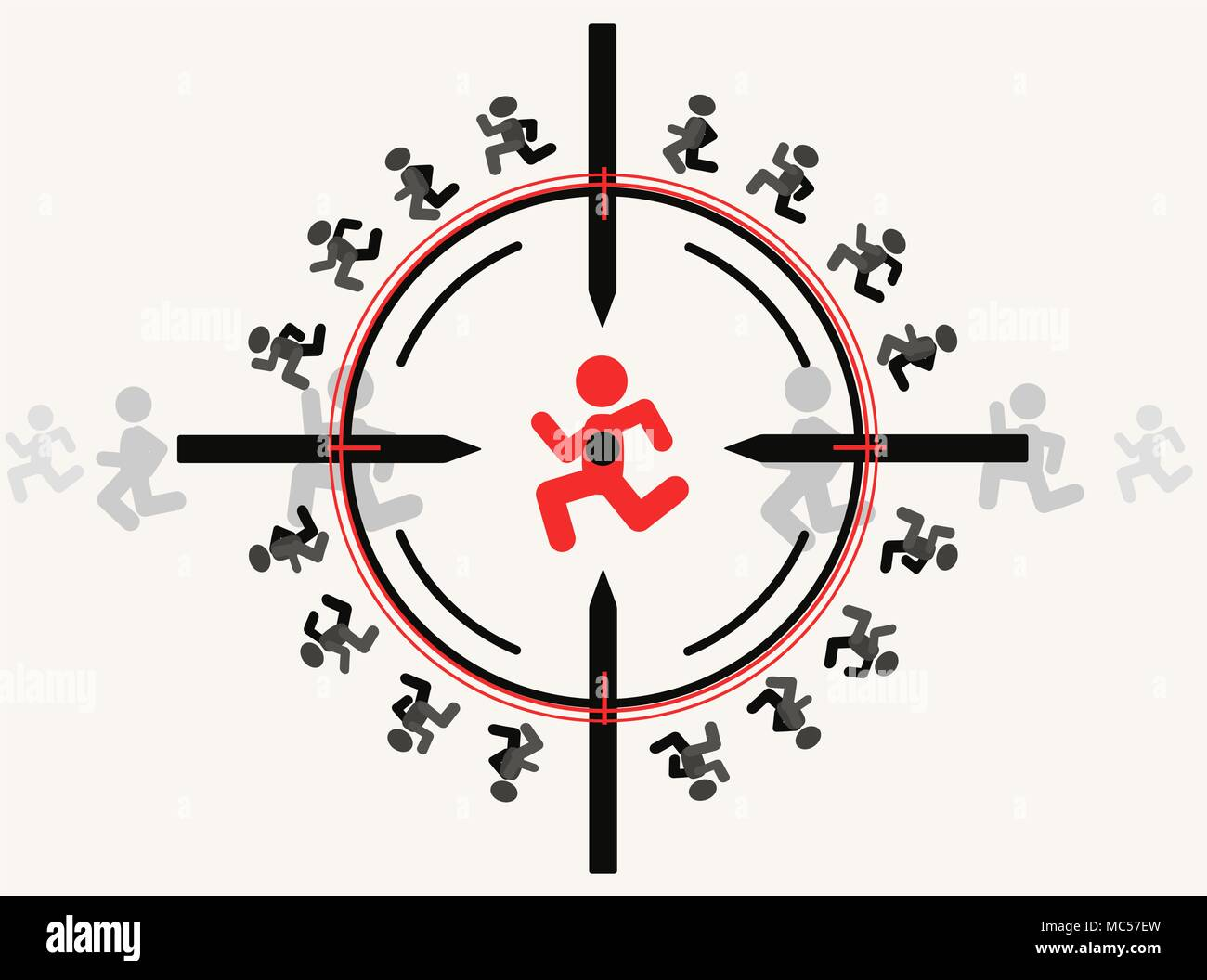 Snipe aim target with people figures, vector illustration color cartoon, horizontal - Stock Image