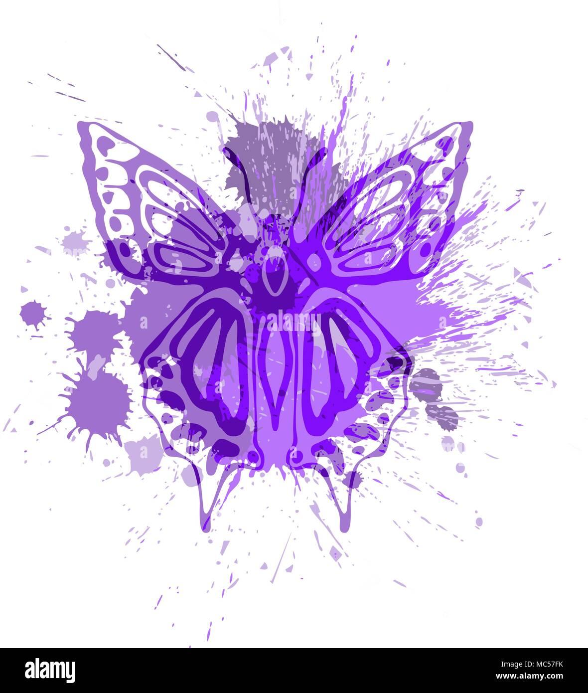 Purple butterfly overlapping paint splash vector illustration Stock