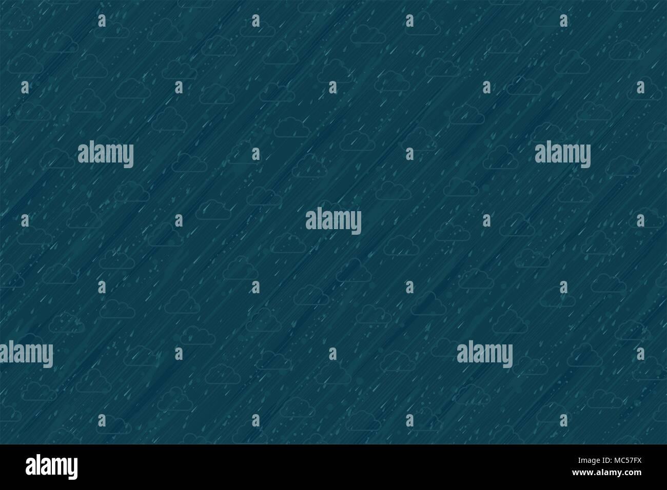 Rain streaming, seamless vector texture pattern, horizontal background - Stock Vector