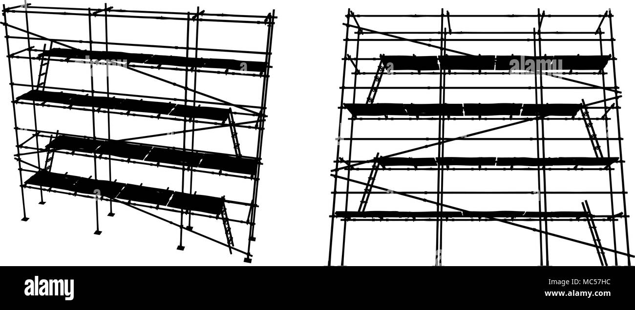 Scaffolding construction vector silhouettes, horizontal, black and white - Stock Vector