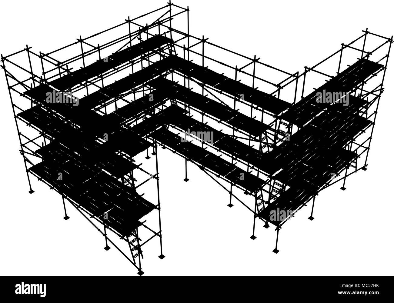 Horizontal construction scaffolding structure vector silhouette, isolated - Stock Vector