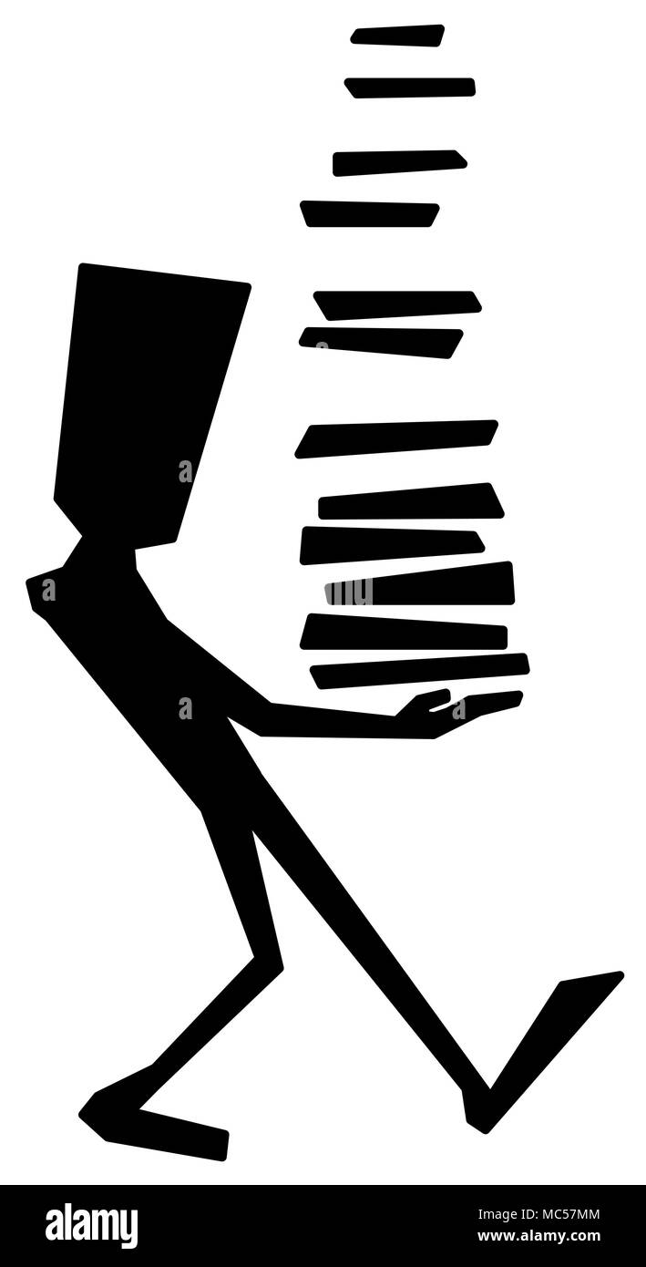 Stack carry figure stylized stencil black, vector illustration, vertical, isolated - Stock Image