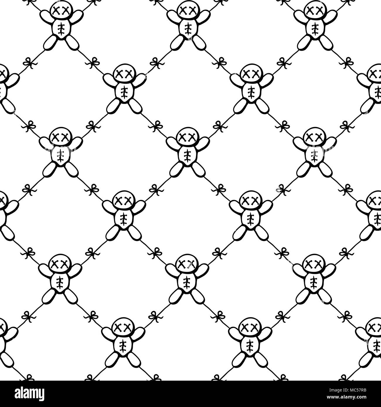 Voodoo dolls tied together restricted movement net, seamless texture pattern, vector illustration, square, over white - Stock Vector