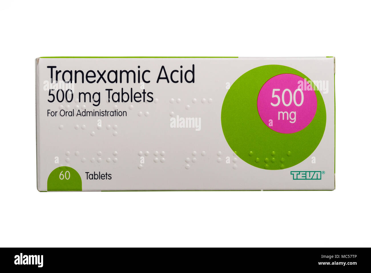 A box of Tranexamic Acid 500mg tablets on a white background - Stock Image