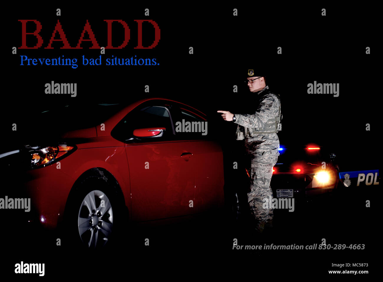 Base Airmen Against Drunk Driving (BAADD) is an option for those whose plans have fallen through after a night at the bar when they have no one else to call at Laughlin Air Force Base, Texas. In the words of Senior Airman Jacob Strait, 47th Operations Support Squadron aircrew flight equipment technician and BAADD vice president, sometimes, even the best plans to get home after a fun night out can fall through and BAADD is always there to ensure the Laughlin family returns home safely. (U.S. Air Force graphic/Airman 1st Class Anne McCready) - Stock Image