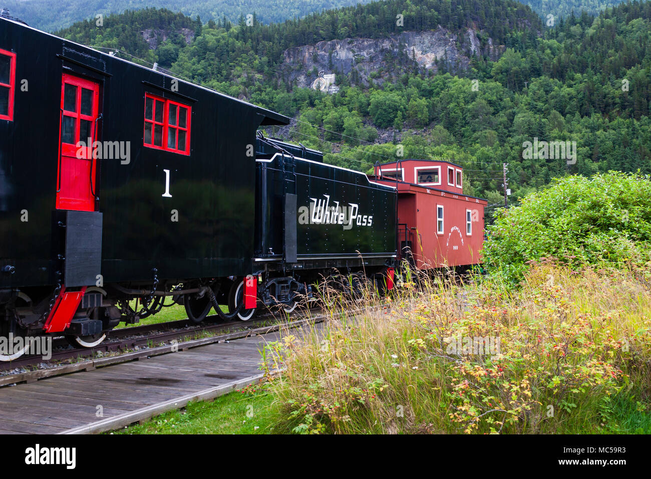 White Pass and Yukon train museum at Skagway, Alaska, port of call for Cruise Ships going to and from Alaska via the Inside Passage. - Stock Image
