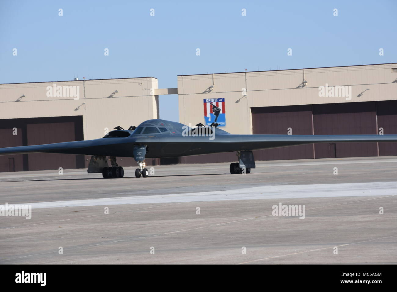 The Spirit of Missouri, the B-2 Flagship of the Missouri Air National Guard's 131st Bomb Wing, returns from a recent training mission, at Whiteman Air Force Base, Missouri, Feb 25, 2018. (U.S. Air National Guard photo by Senior Master Sgt. Mary-Dale Amison) Stock Photo