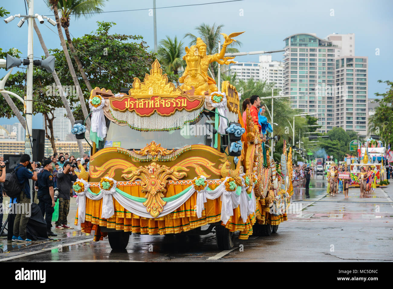 Pattaya, Thailand - November 19, 2017: The Sanctuary of Truth parade marching on the 50th anniversary ASEAN International Fleet Review 2017 to promote - Stock Image