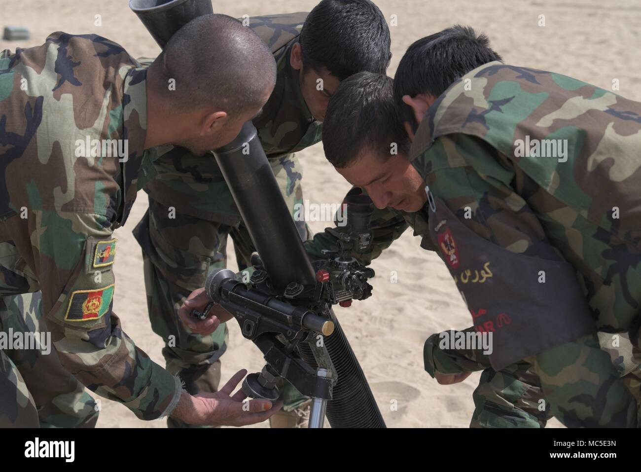 Afghan National Army Special Operations Corps Commandos Adjust The