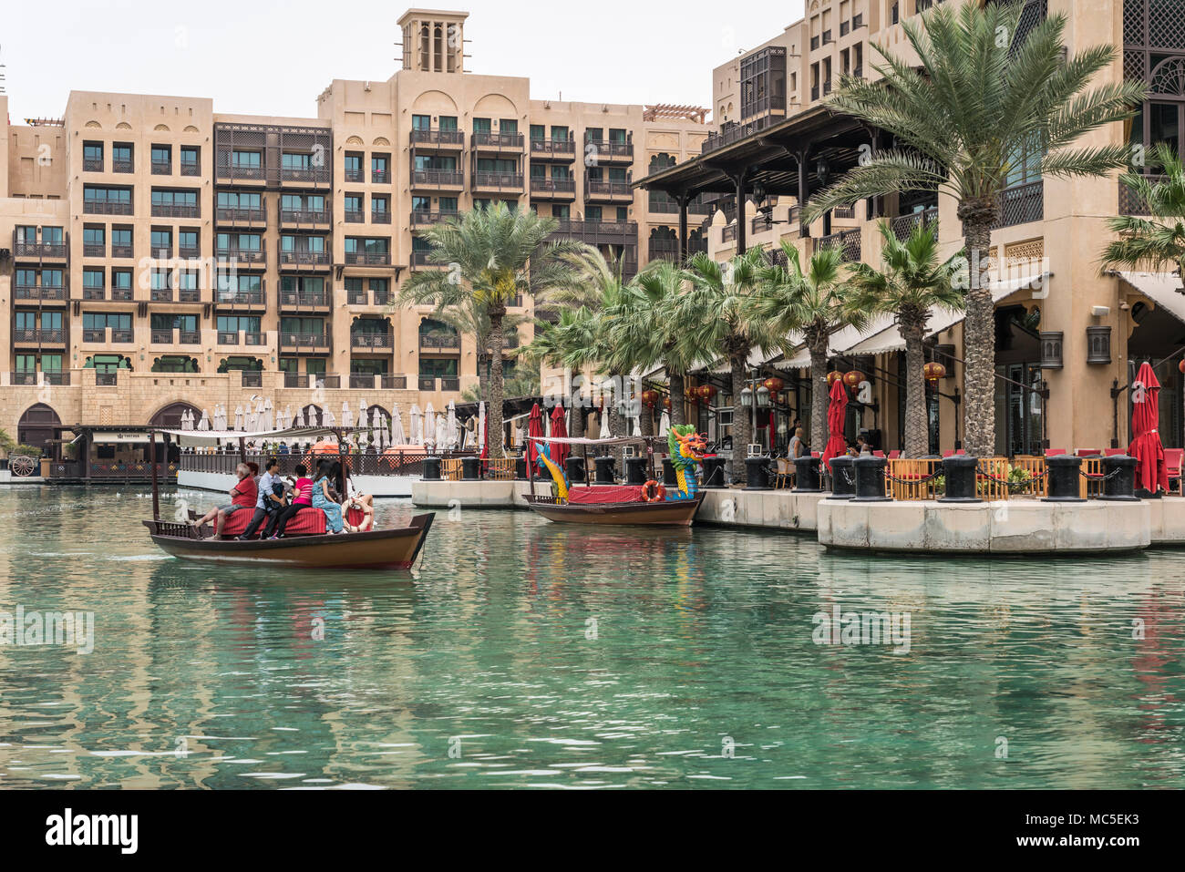 Abra boats in the canals of the Madinat Jumeirah Souq in