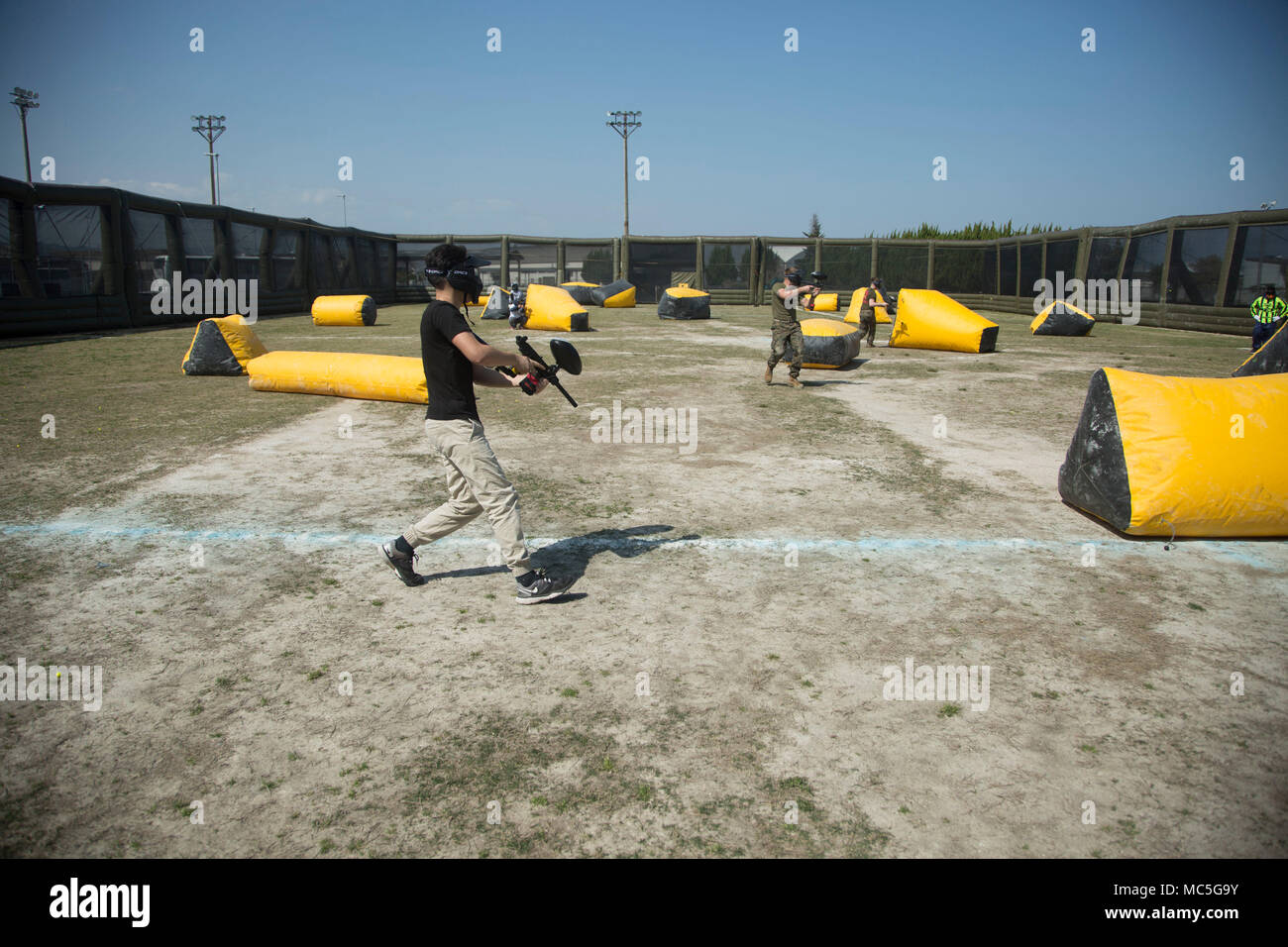 U S  Marines participate in a paintball game at Marine Corps