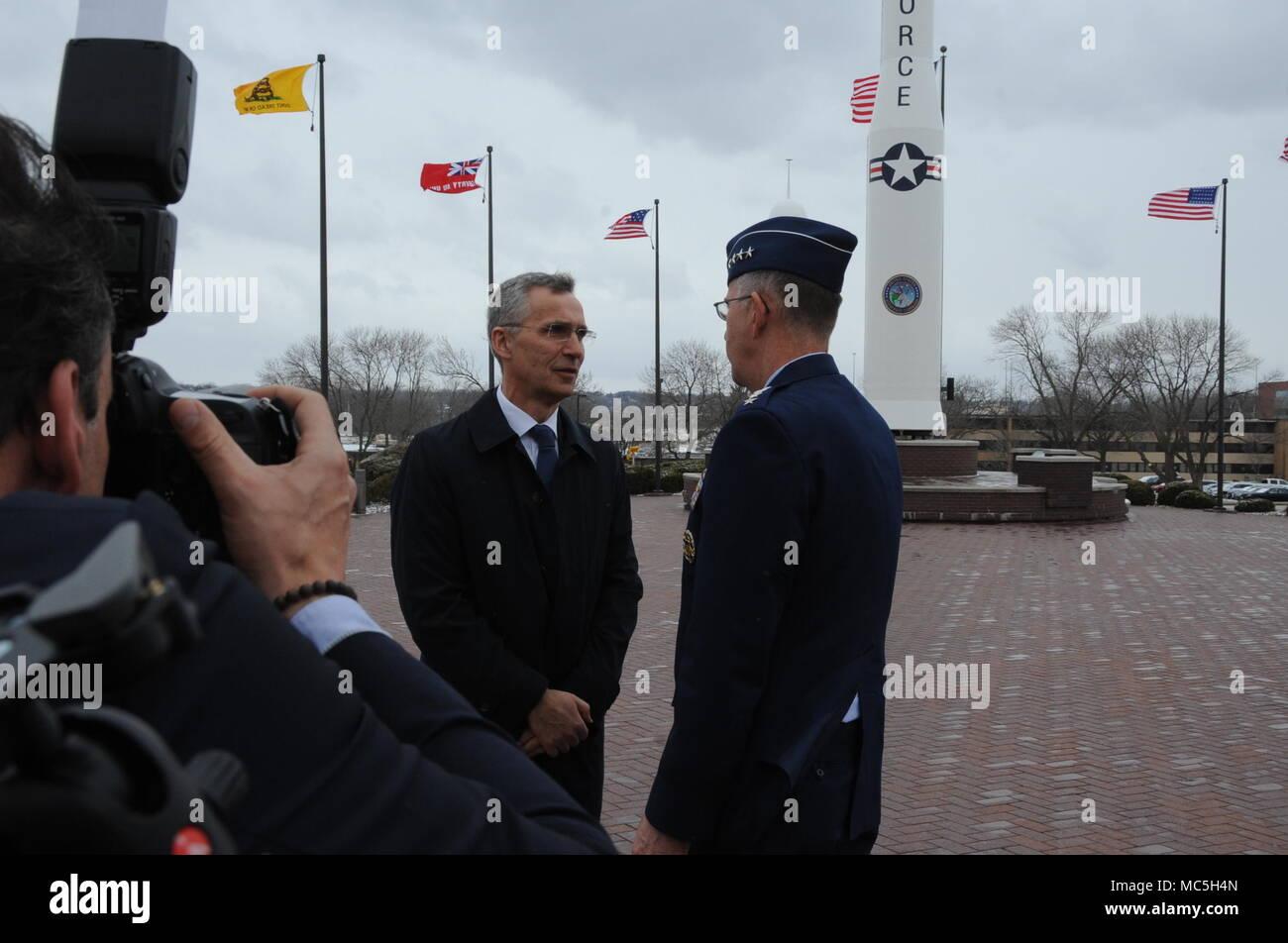 NATO Secretary General Jens Stoltenberg speaks with U S  Air Force