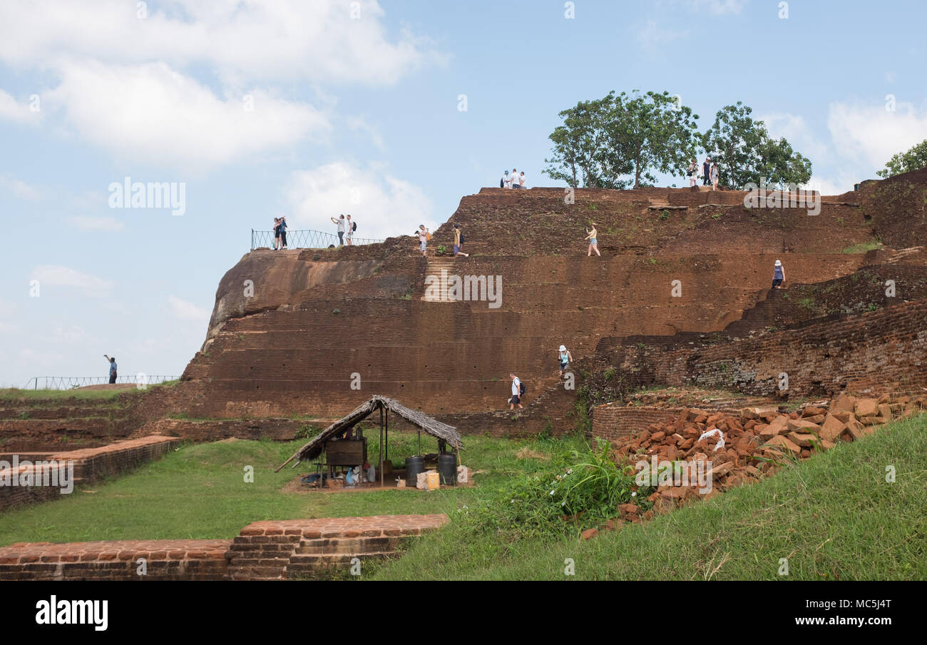 Tourists at Sigiriya Rock Fortress, Central Province, Sri Lanka, Asia. Stock Photo