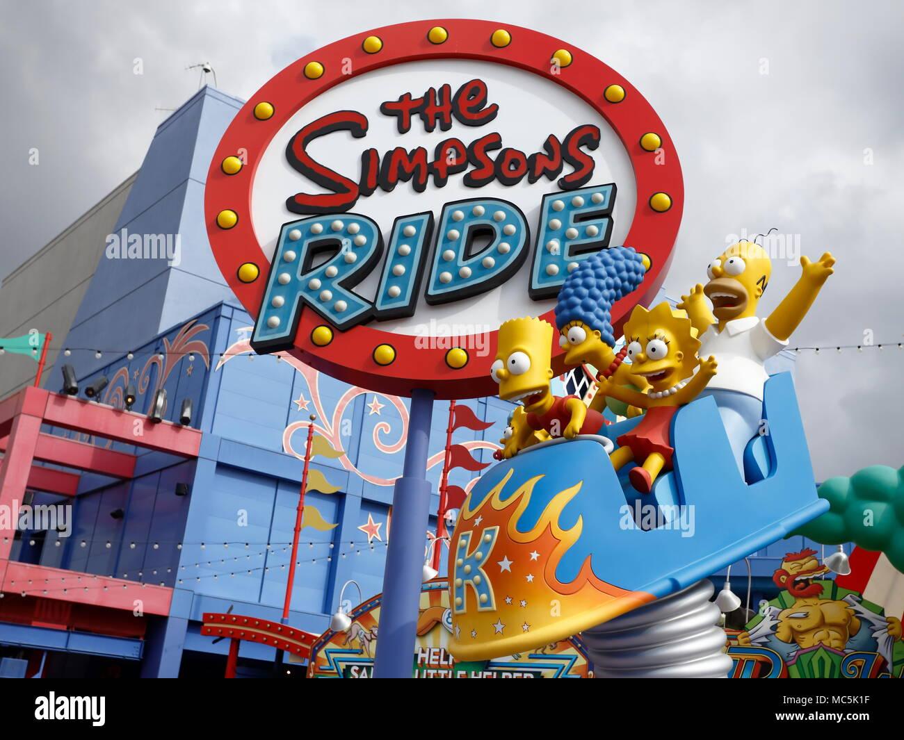 The Simpsons Ride at Universal Studios, California - Stock Image