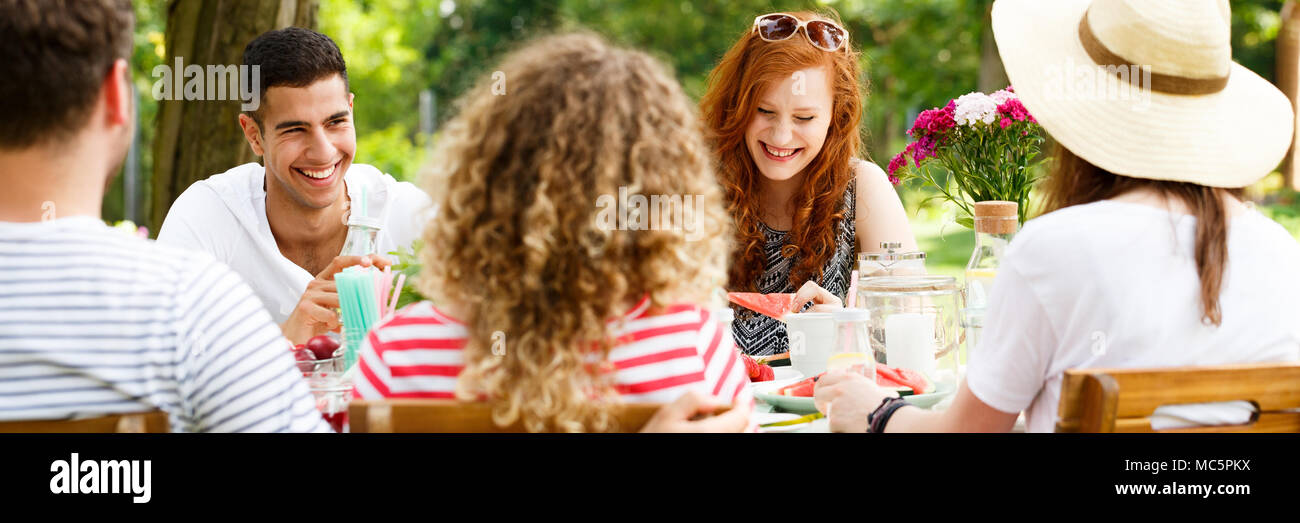 Panorama of smiling friends enjoying a garden party during sunny spring weather - Stock Image
