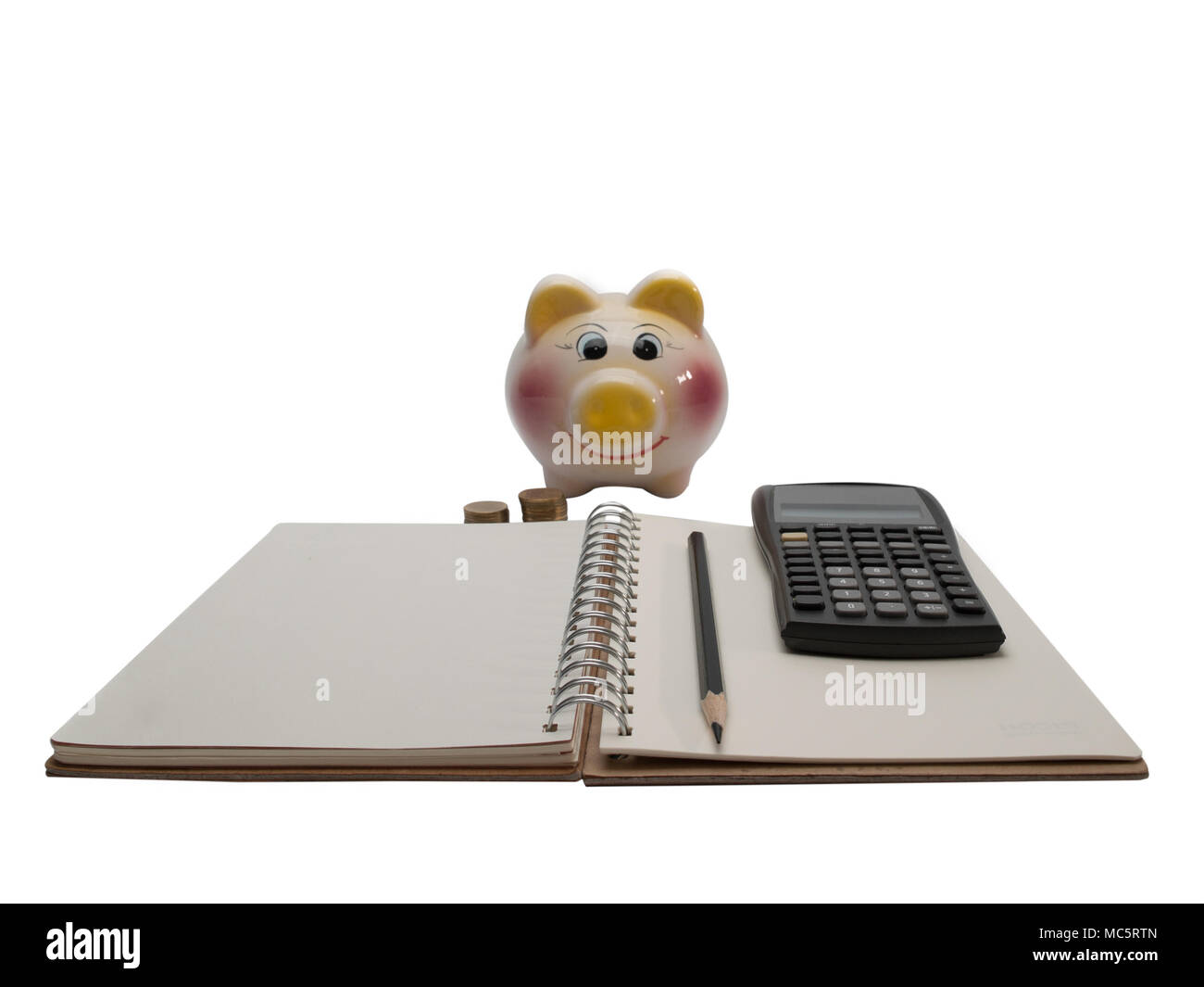 Diary , and calculate cost savings. - Stock Image