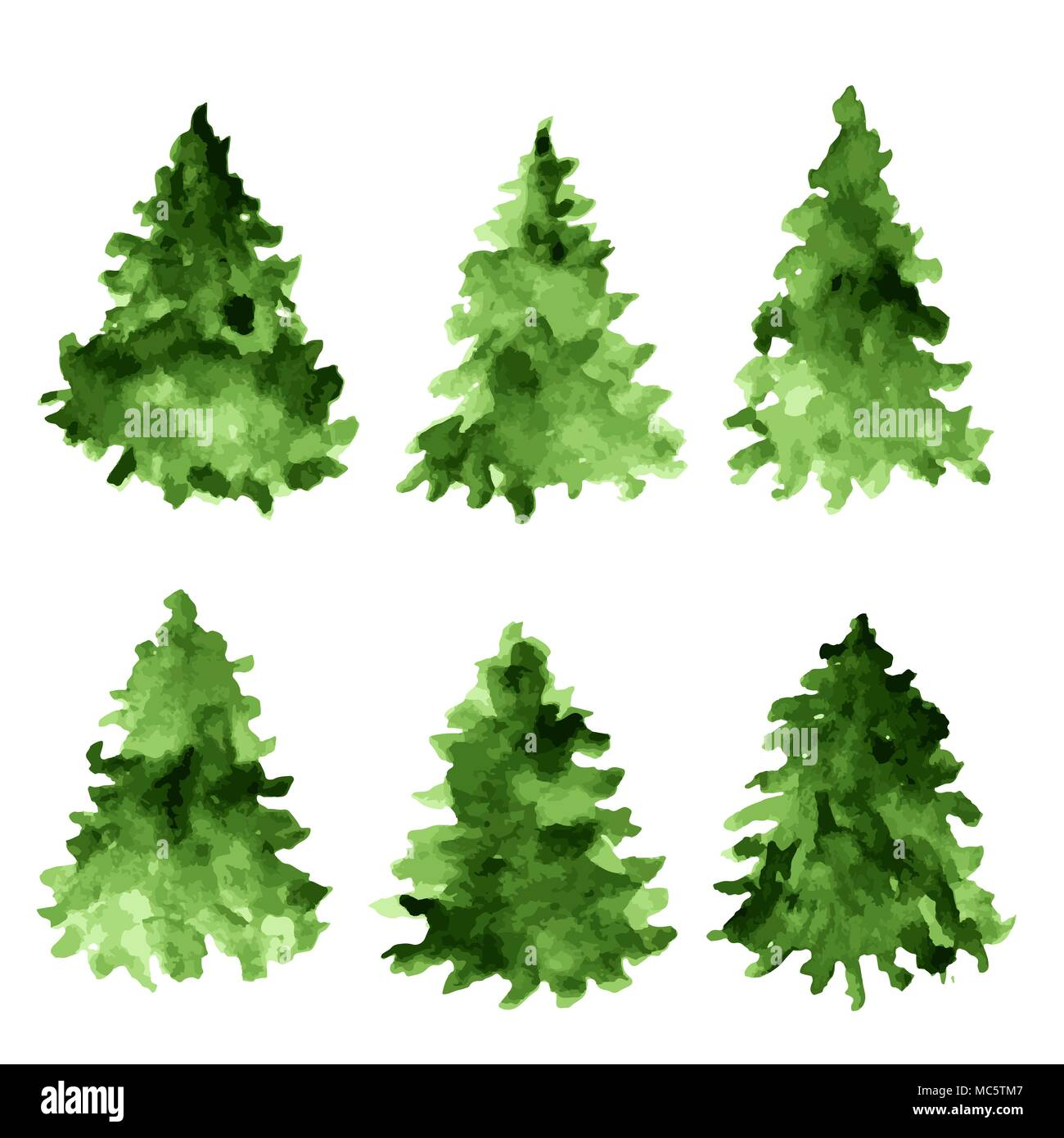 Set of green watercolor spruces. Fir tree collection. - Stock Vector
