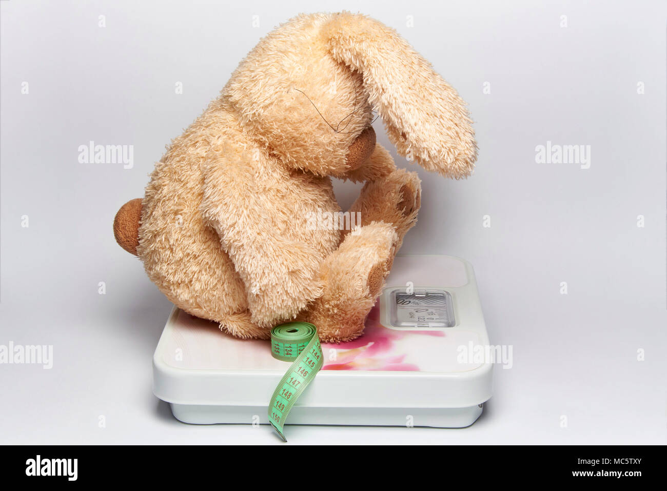 A soft toy rabbit with a centimeter tape sits on the floor scales. - Stock Image