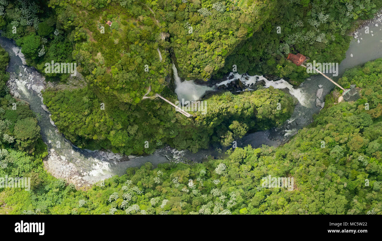Aerial Map Of Pailon Del Diablo Waterfall Complex Popular Touristic Destination In Banos De Agua Santa Ecuador - Stock Image