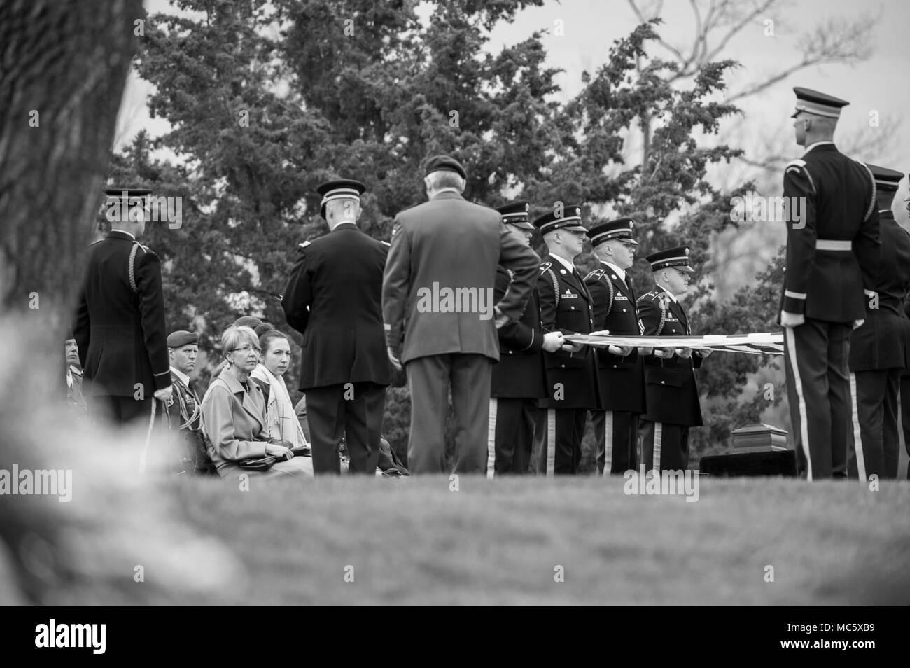 Kitti Einseln (left center) listens to remarks from a U.S. Army Chaplain during the full honors funeral of her husband, U.S. Army Col. and Estonian Gen.Einseln, in Section 34 of Arlington National Cemetery, Arlington, Virginia, April 2, 2018.  Born in Estonia, Einseln immigrated to the United States in 1949 and enrolled in the U.S. Army in 1950 at the outbreak of the Korean War. He served with Special Forces in the Vietnam War and retiring as a Colonel in 1985. In 1993, Einseln returned to Estonia at the request of Estonian President Lennart Meri to serve as the first commander of the Estonian - Stock Image