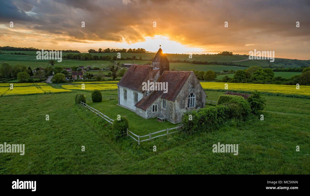 Aerial View of St Hubert's Church in Idsworth, Hampshire - UK - Stock Image