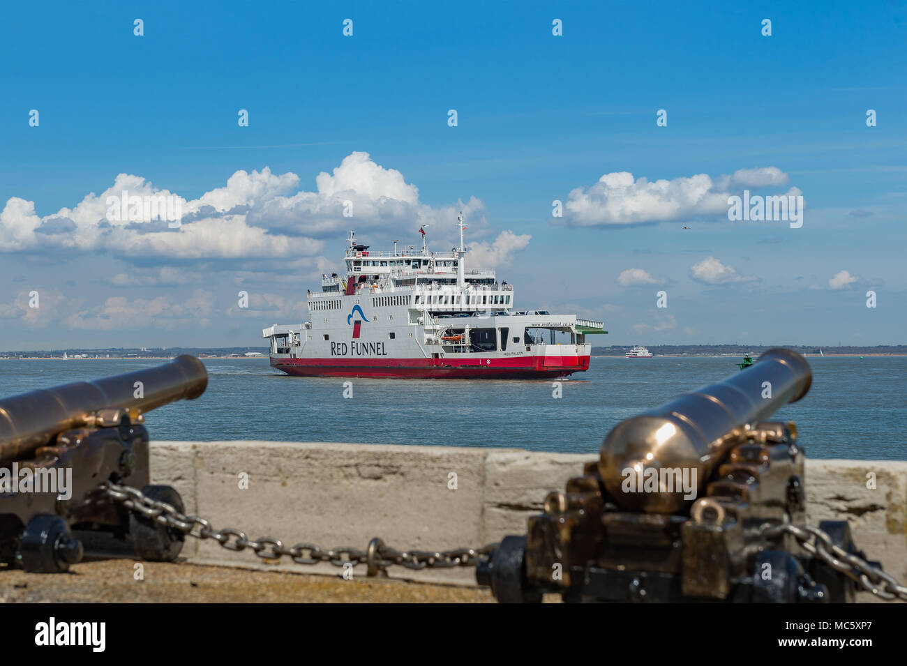 Red Funnel Car Ferry Entering Cowes Harbour; Isle of Wight - UK Stock Photo