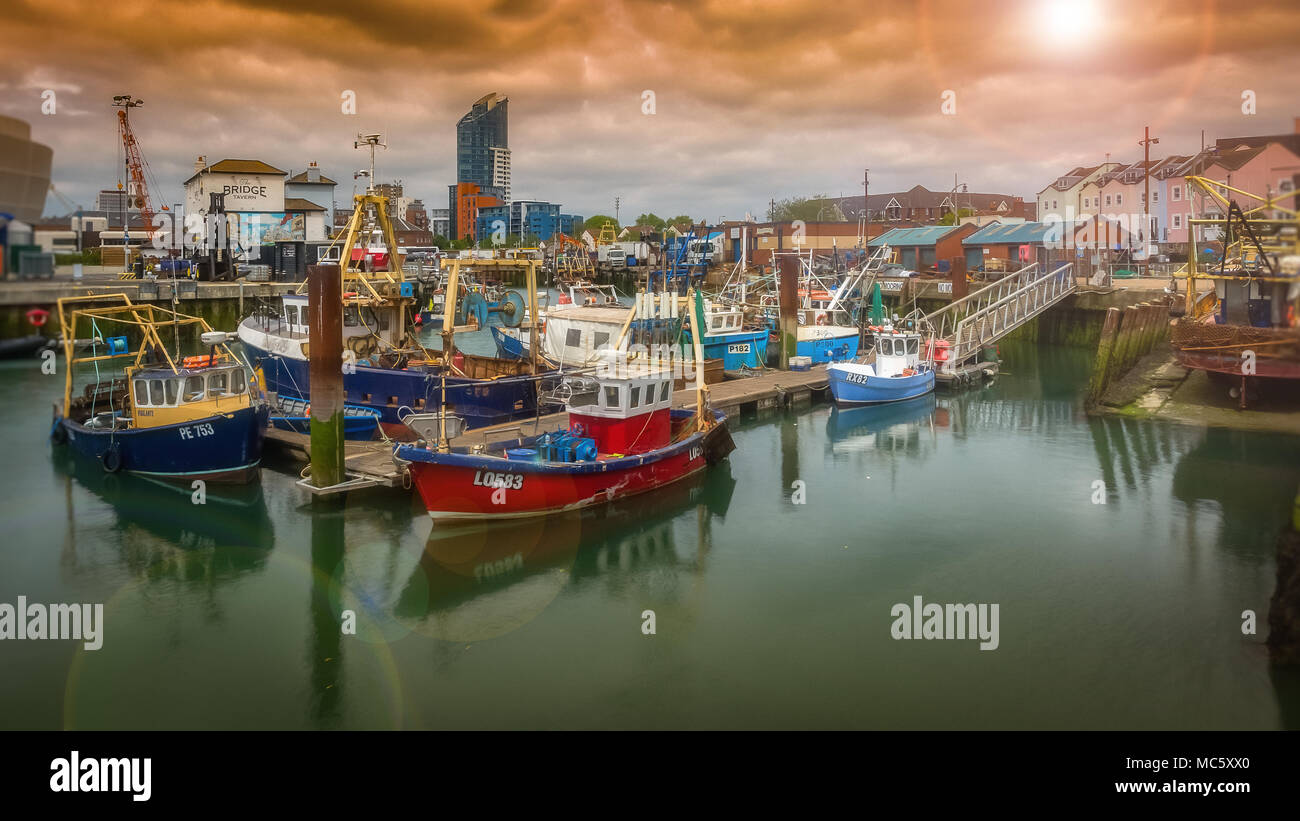 Fishing Boats Moored in Camber Docks, Old Portsmouth - UK Stock Photo