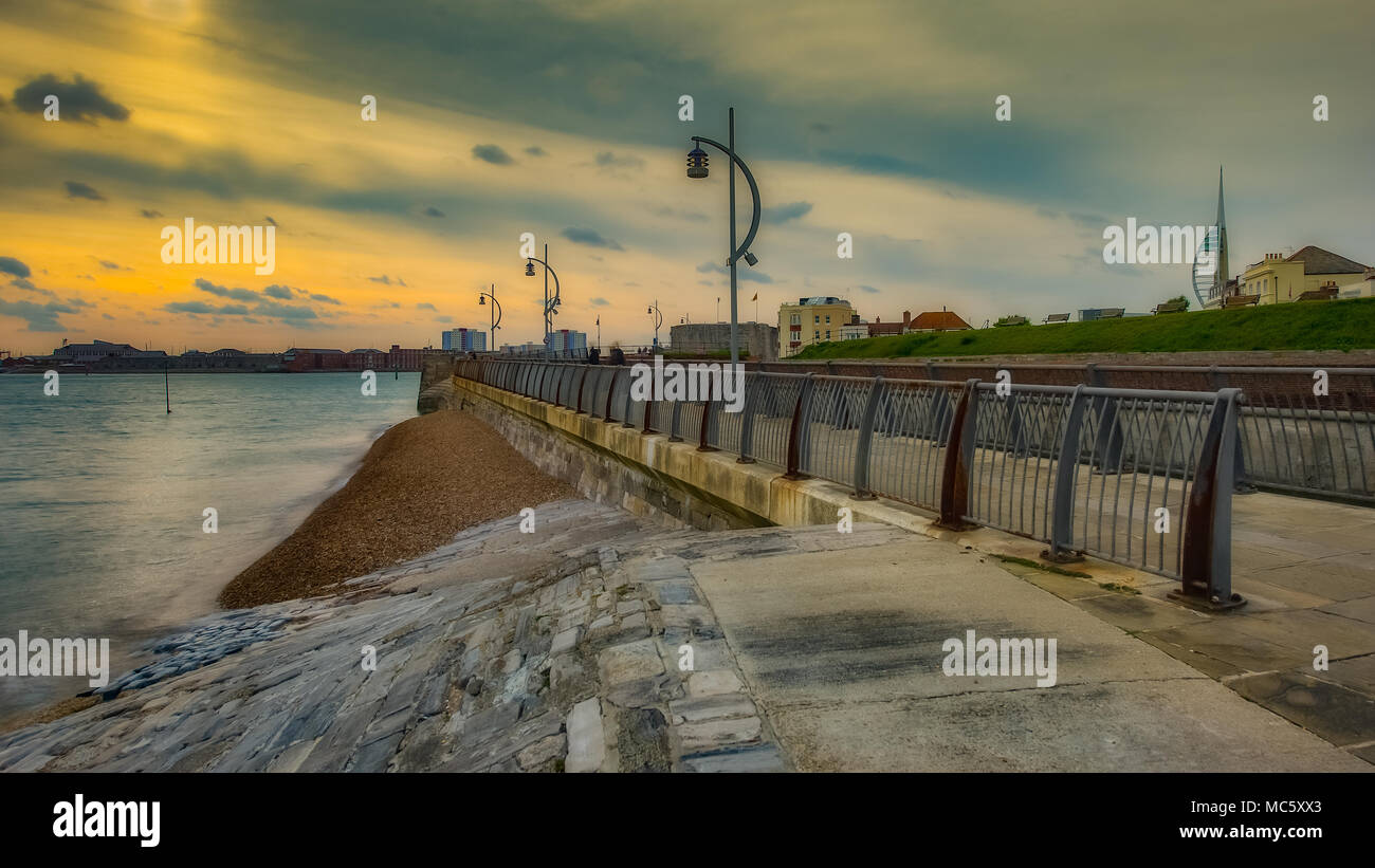 Promenade at Old Portsmouth with Railings & Streetlights Stock Photo