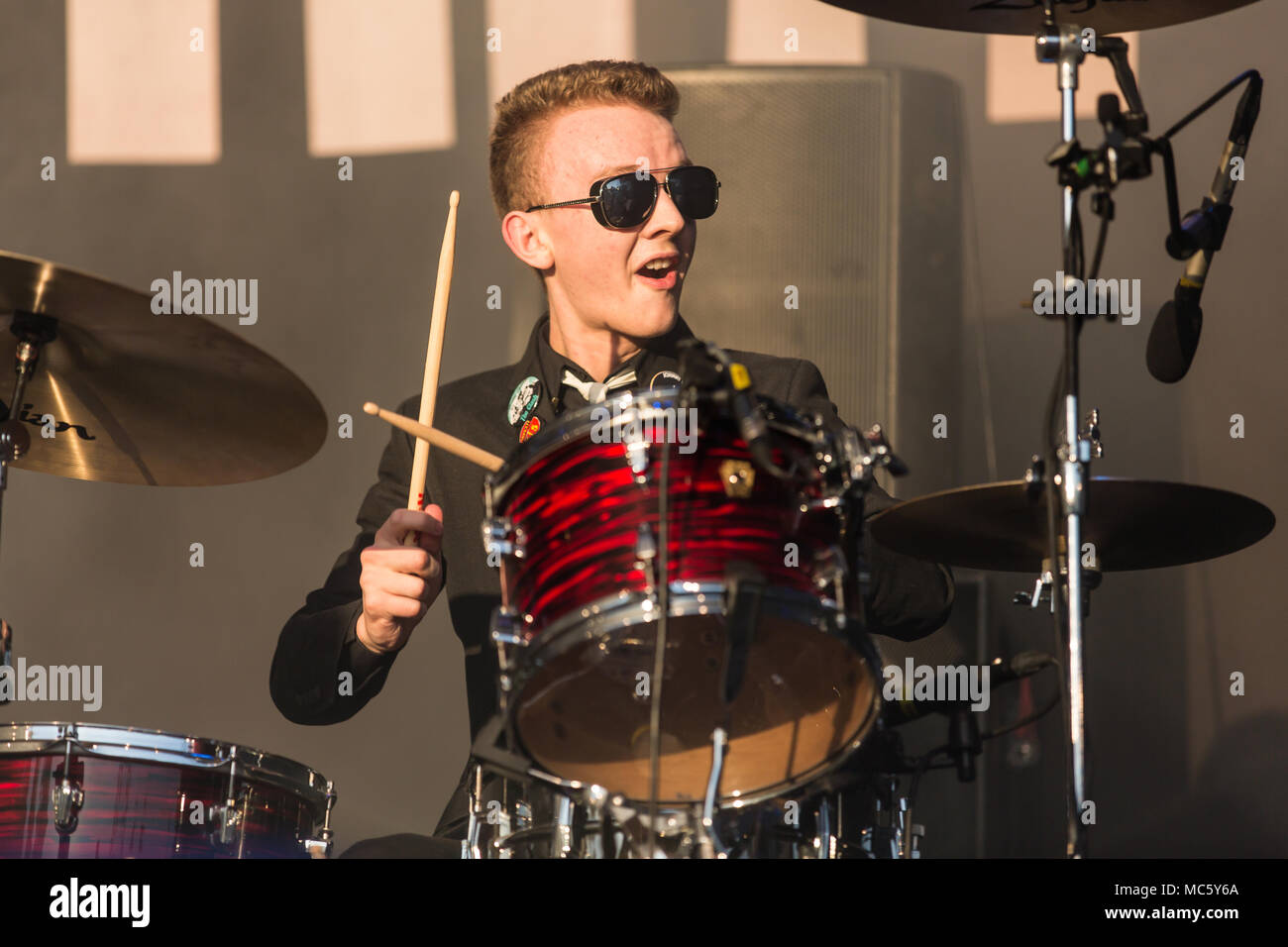 Evan Walsh, drummer from the Irish rhythm and blues band The Strypes live at the 26th Heitere Open Air in Zofingen, Aargau - Stock Image