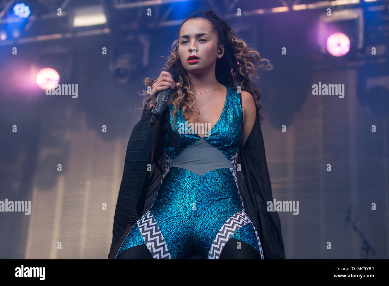 English pop and R&B singer Ella Eyre live at the 26th Heitere Open Air in Zofingen, Aargau, Switzerland Stock Photo