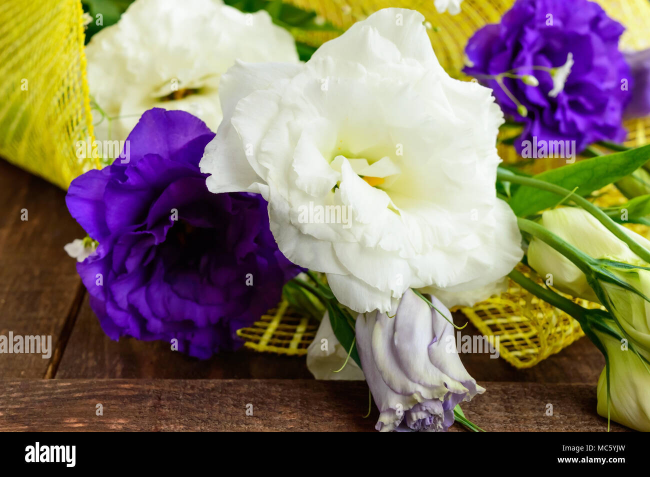 Freshly picked white and purple flowers eustomy (lisianthus) in the form of a bouquet on the wooden background. Close up Stock Photo