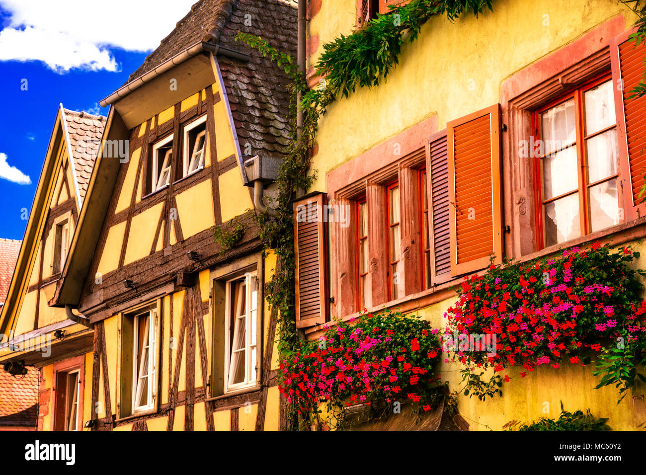 Traditional half timber in Alsace,France. - Stock Image