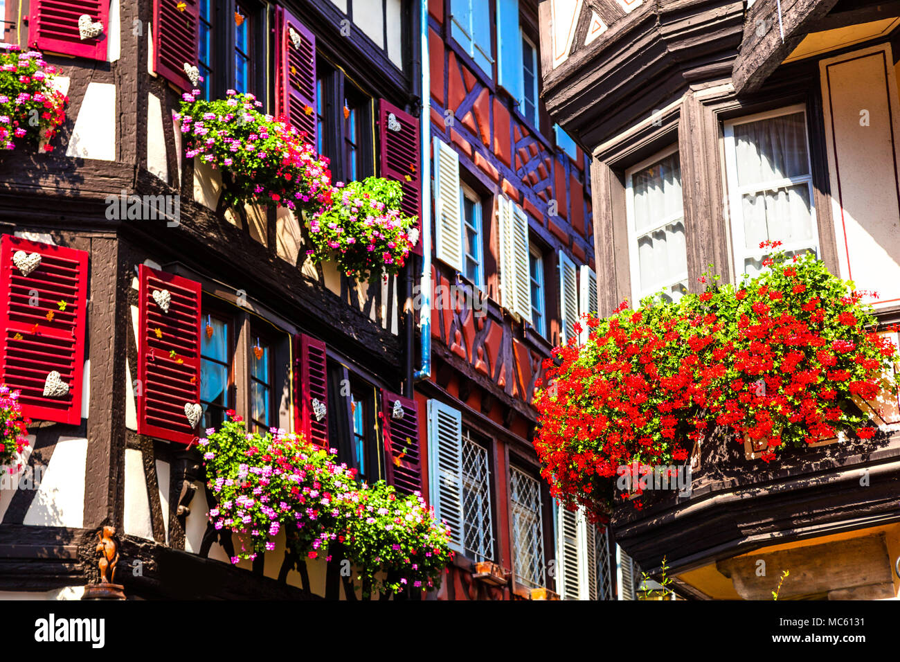Traditional half timber in Colmar town,Alsace,France. - Stock Image
