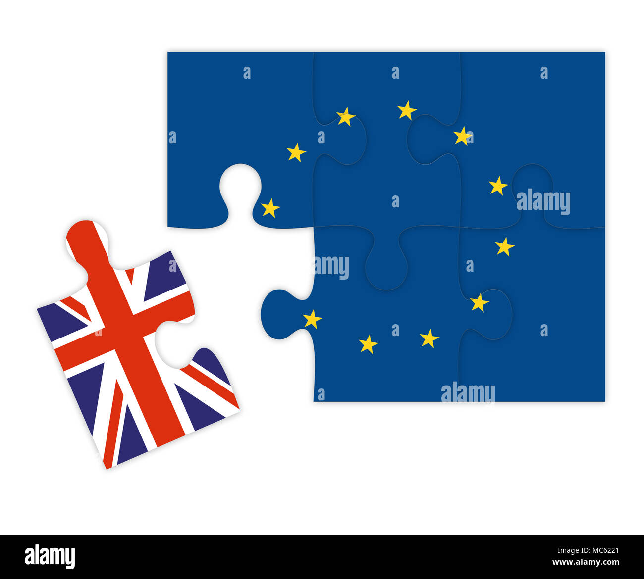 concept image of Brexit, Britain leaving the European union - Stock Image