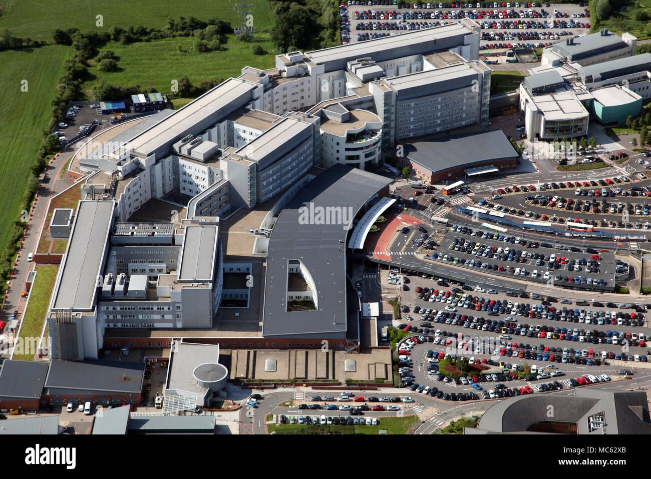 aerial view of University Hospital Coventry & Warwickshire - Stock Image