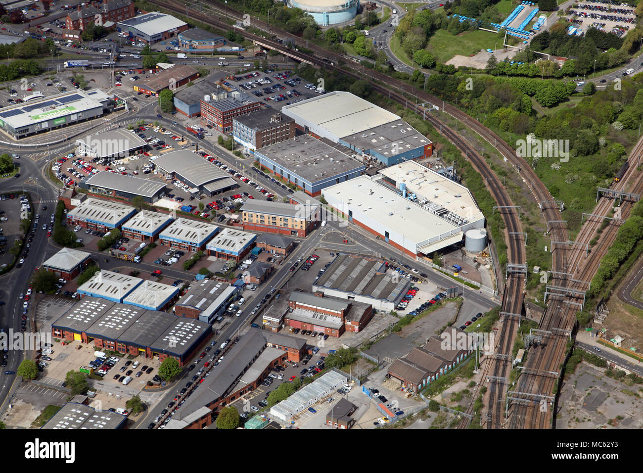 aerial view of Copley Hill Way industrial estate, Leeds - Stock Image