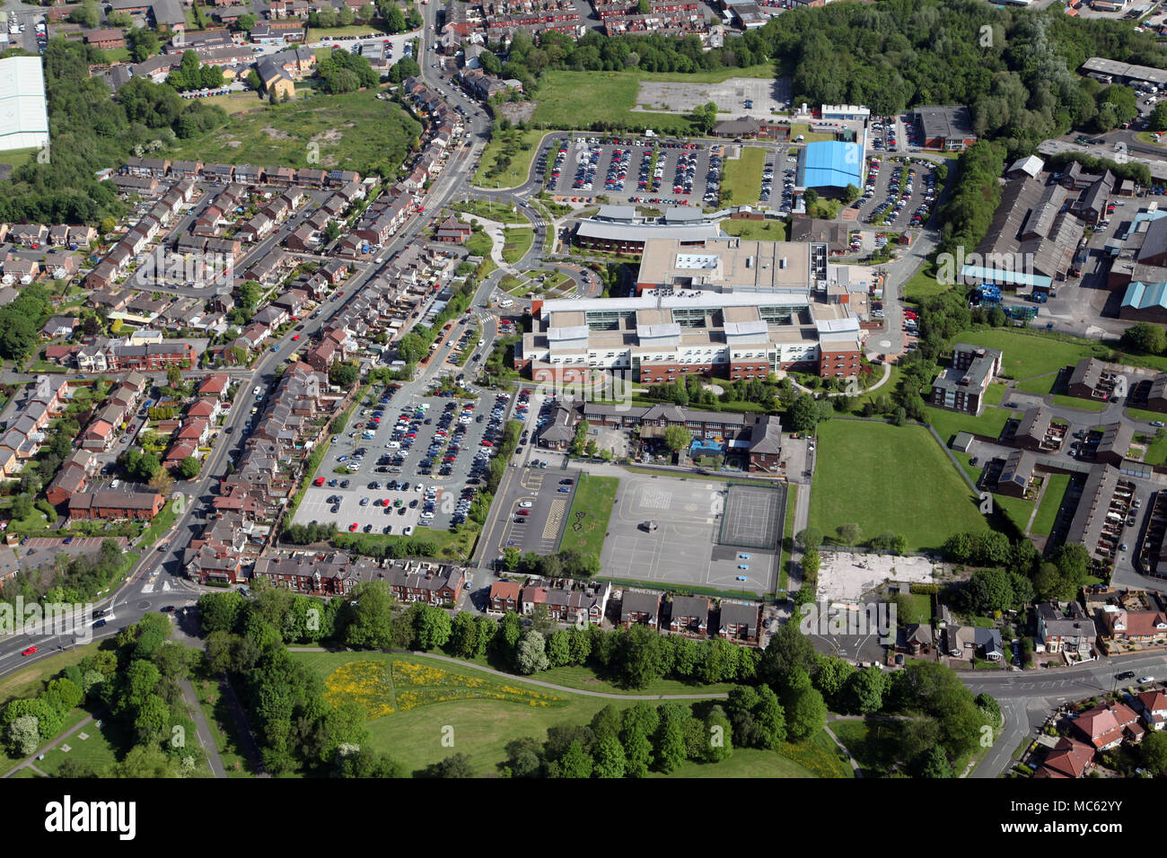 aerial view of St Helens town centre including the Hospital - Stock Image